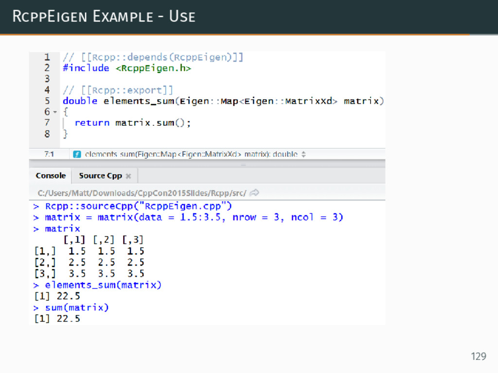 RcppEigen Example - Use 129