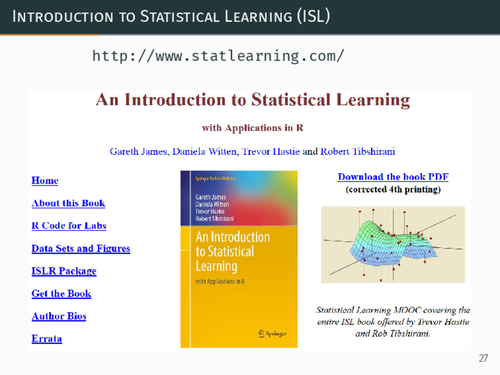 Introduction to Statistical Learning (ISL) http...