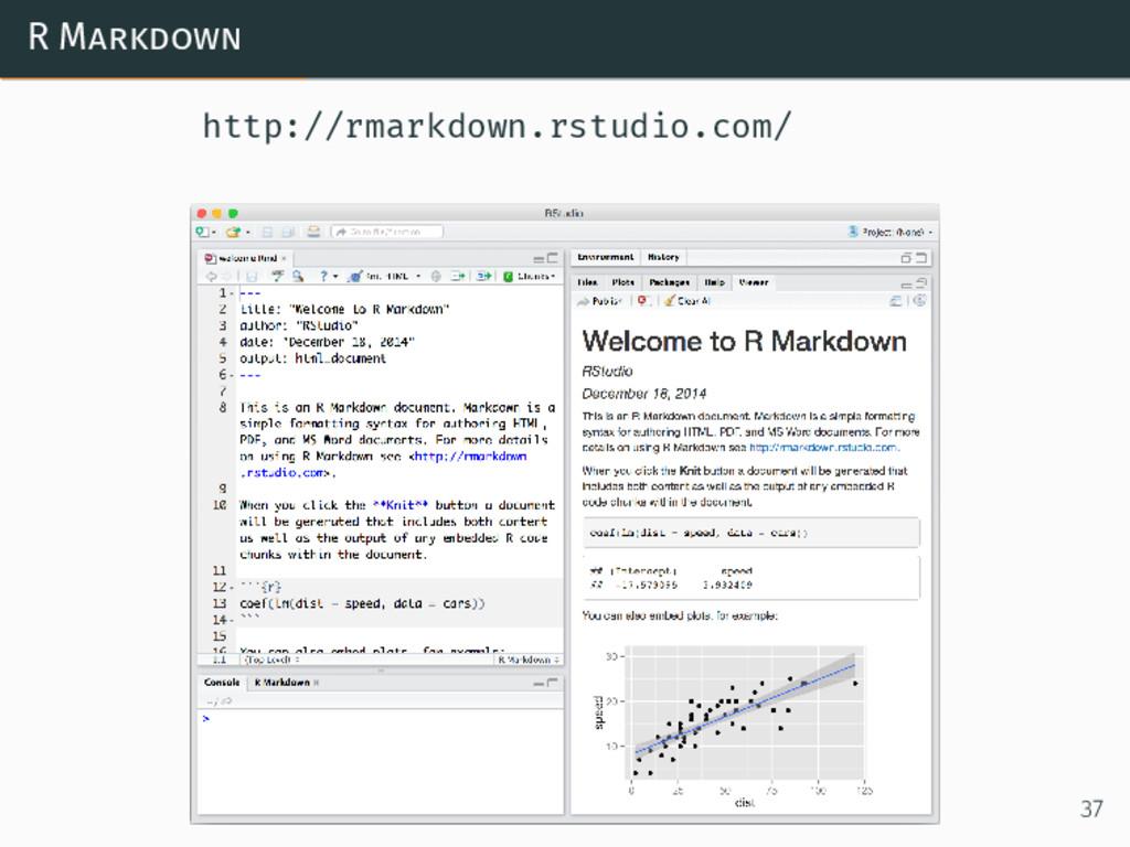 R Markdown http://rmarkdown.rstudio.com/ 37