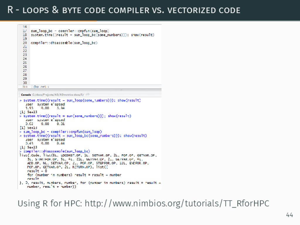 R - loops & byte code compiler vs. vectorized c...