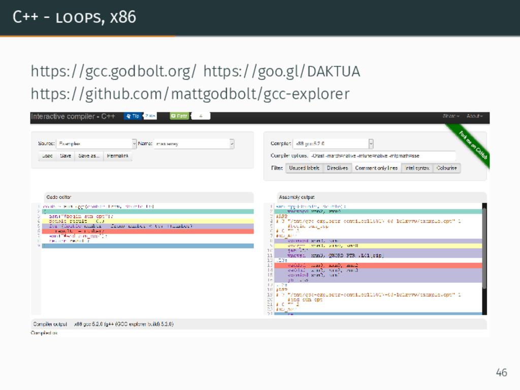 C++ - loops, x86 https://gcc.godbolt.org/ https...