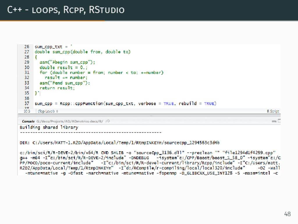 C++ - loops, Rcpp, RStudio 48