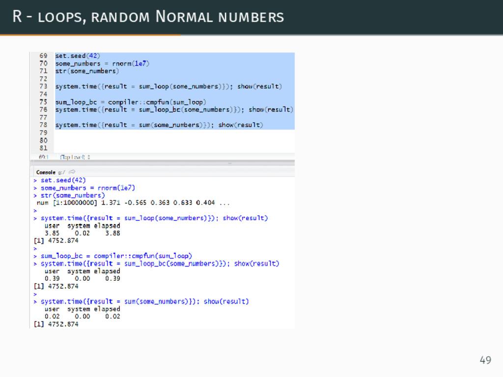 R - loops, random Normal numbers 49