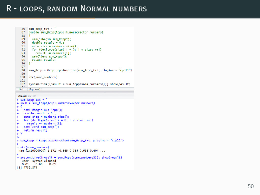 R - loops, random Normal numbers 50