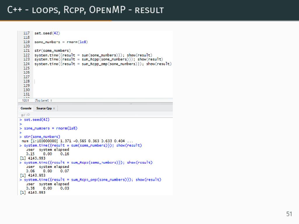 C++ - loops, Rcpp, OpenMP - result 51