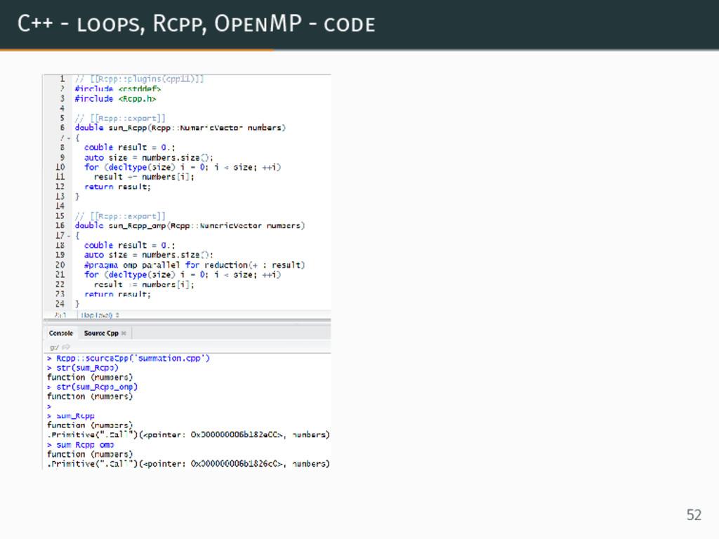 C++ - loops, Rcpp, OpenMP - code 52