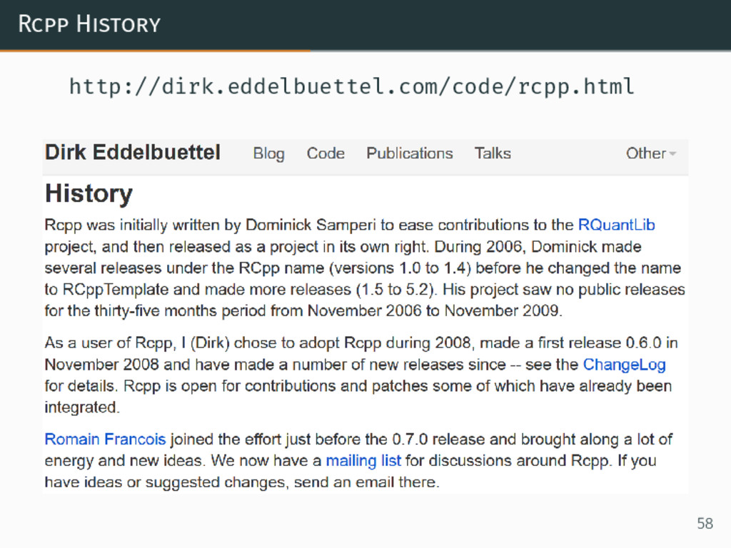 Rcpp History http://dirk.eddelbuettel.com/code/...