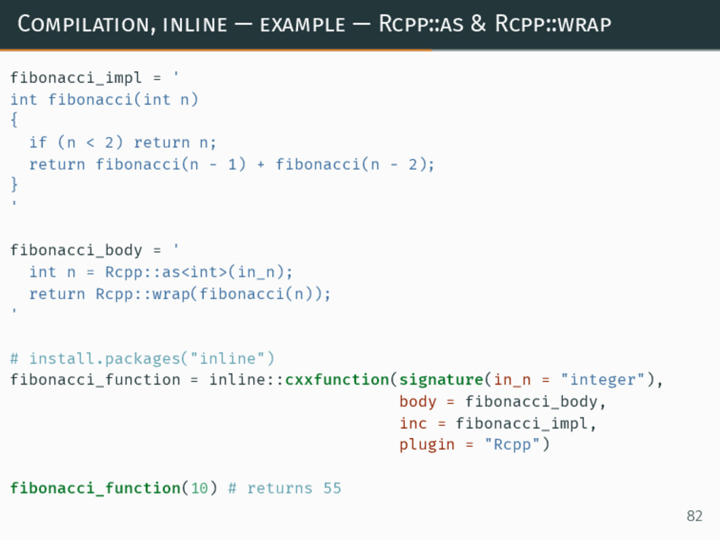 Compilation, inline — example — Rcpp::as & Rcpp...