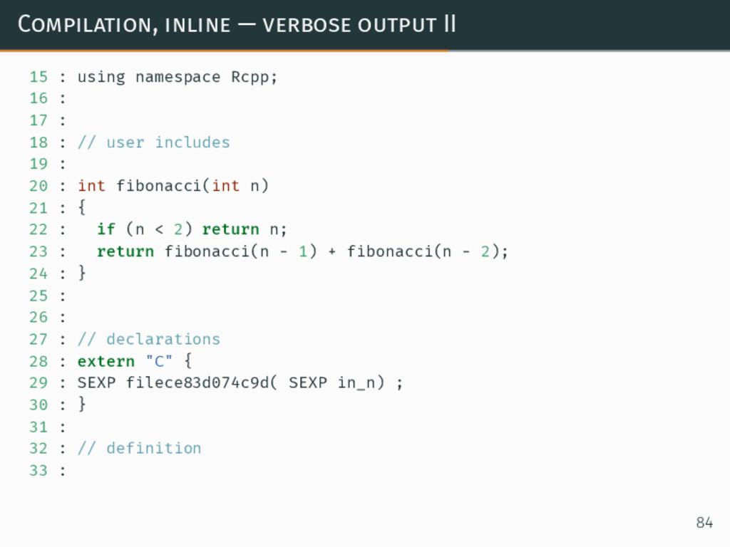 Compilation, inline — verbose output II 15 : us...
