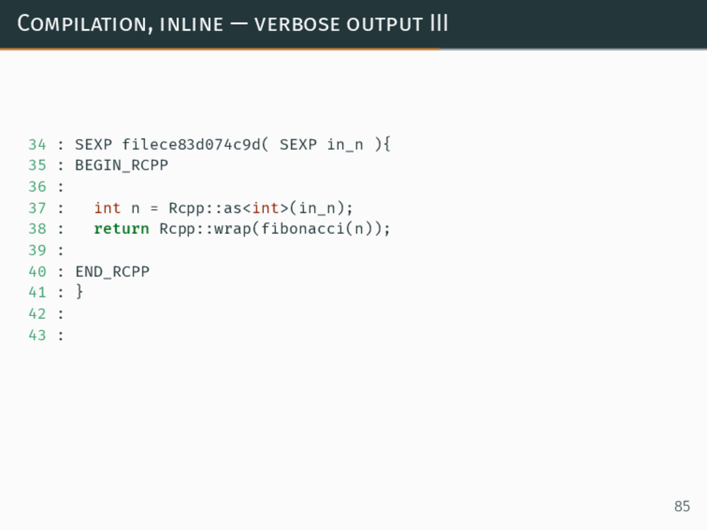 Compilation, inline — verbose output III 34 : S...