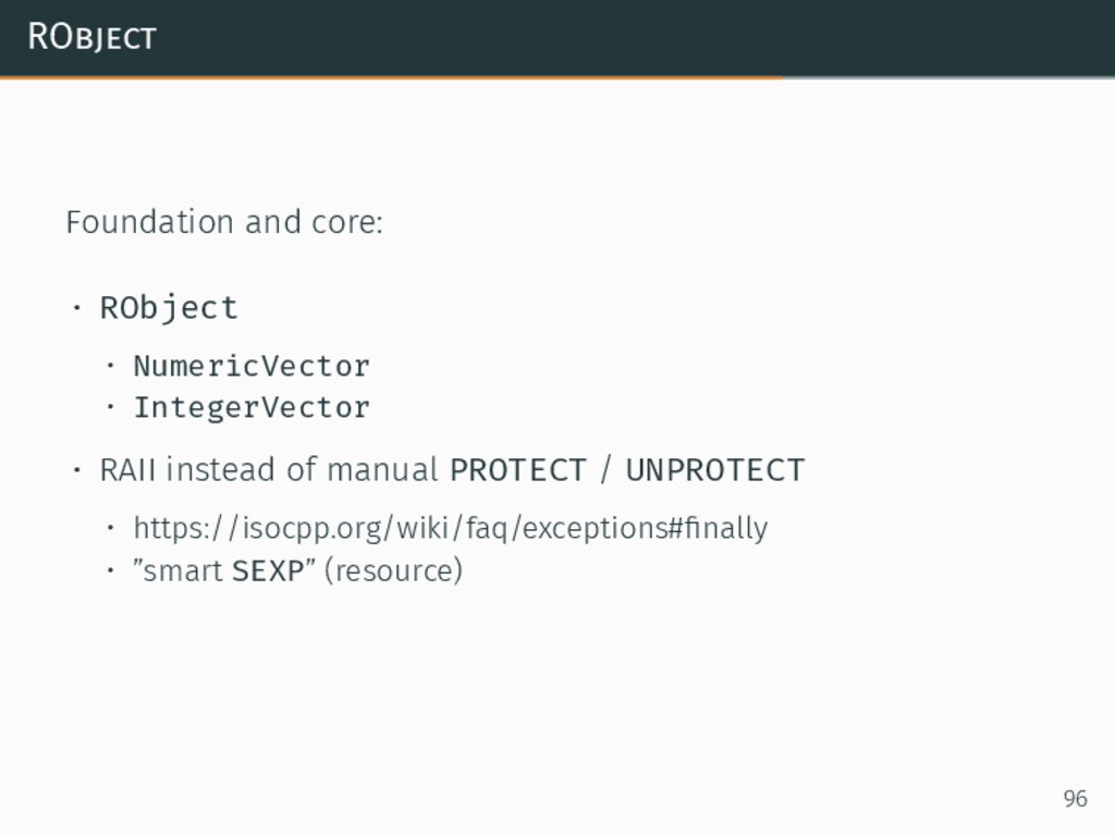 RObject Foundation and core: • RObject • Numeri...
