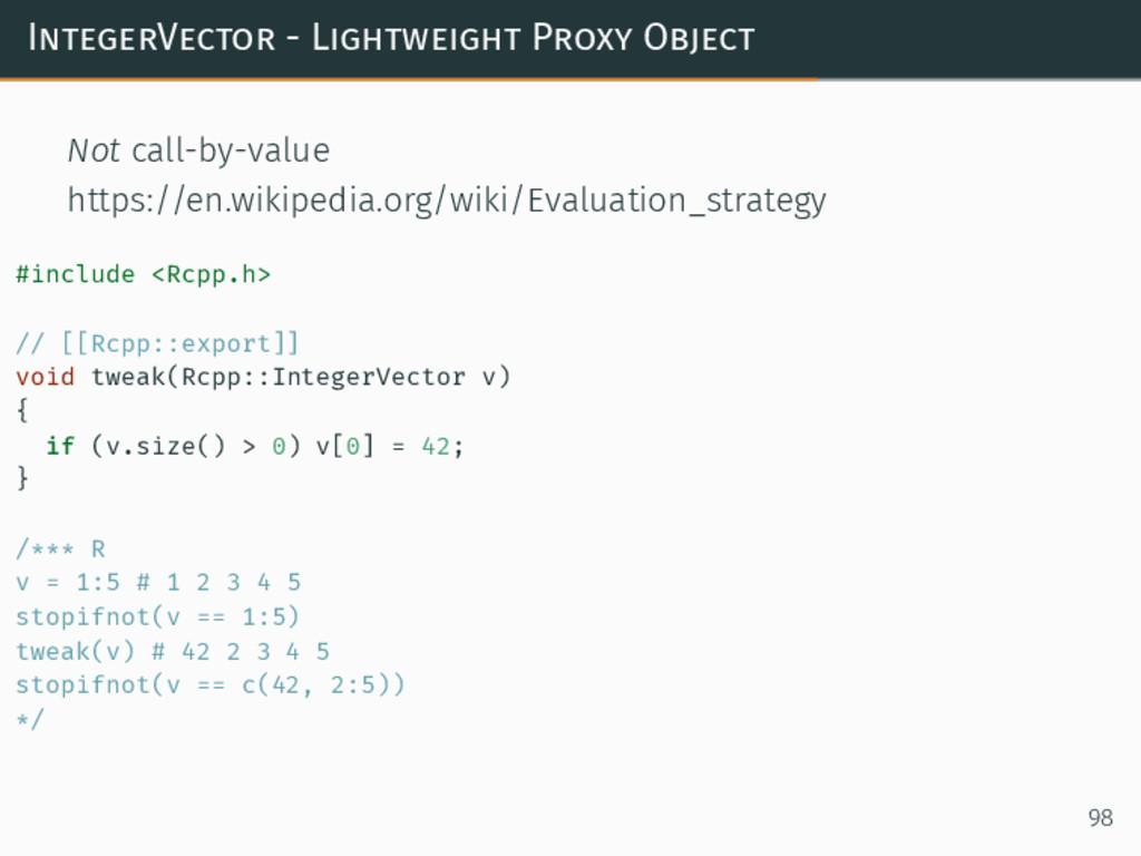 IntegerVector - Lightweight Proxy Object Not ca...