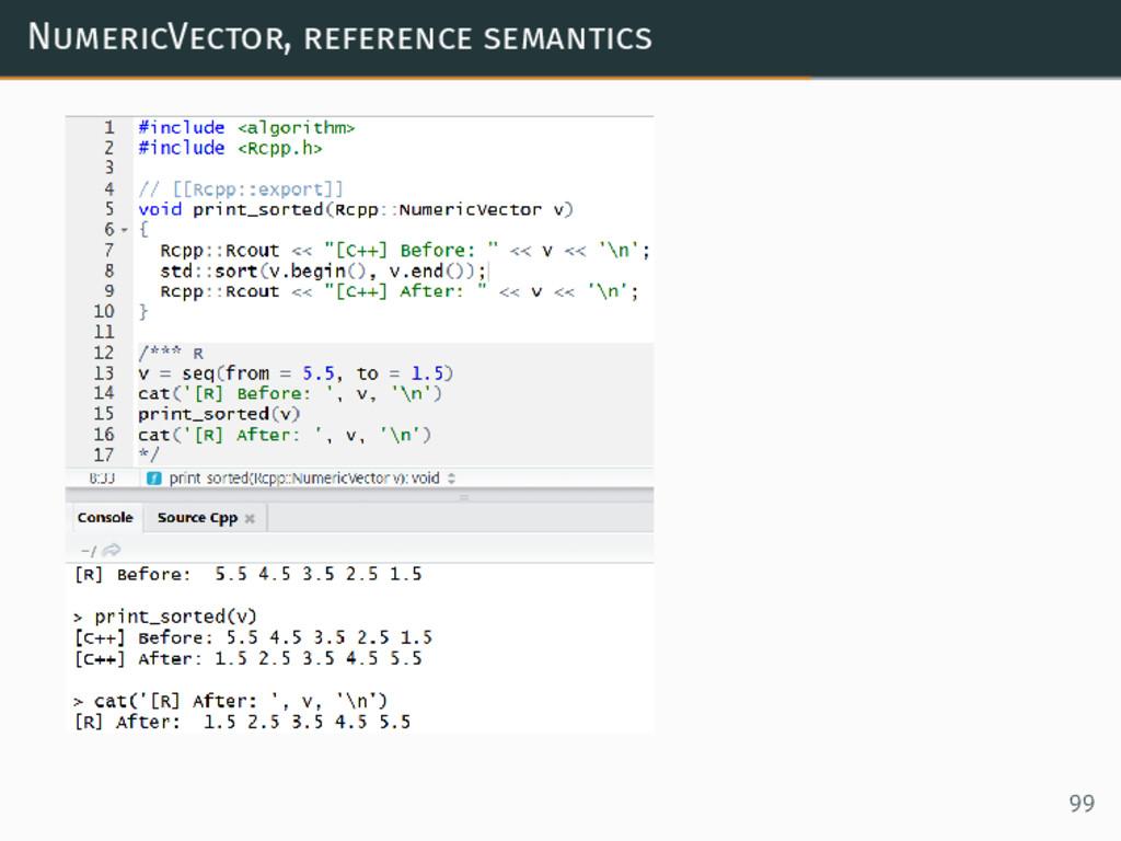 NumericVector, reference semantics 99