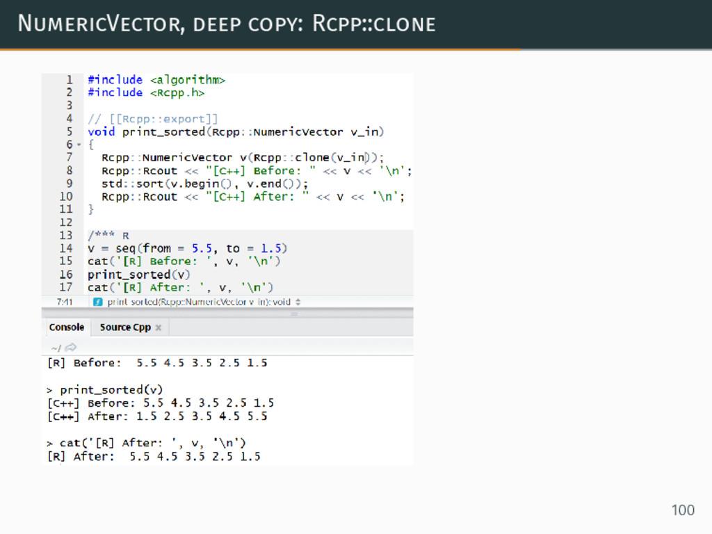 NumericVector, deep copy: Rcpp::clone 100
