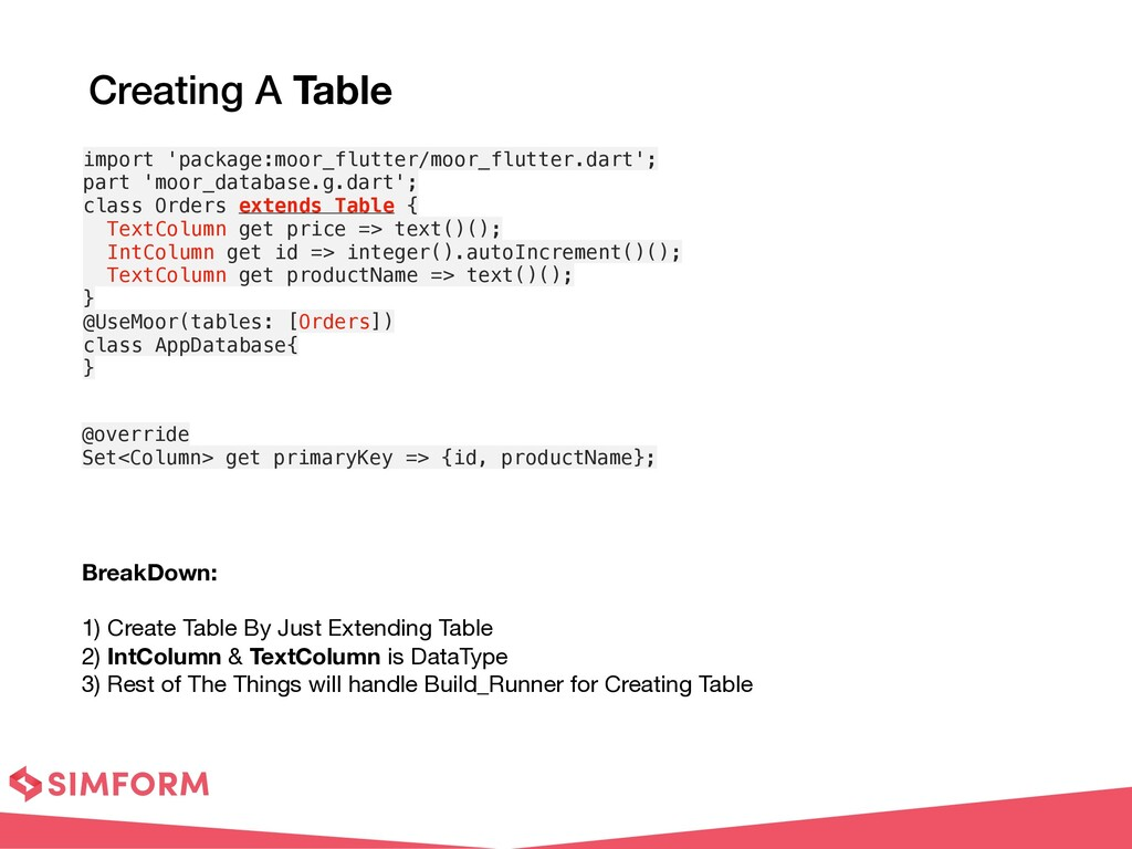 Creating A Table BreakDown:  1) Create Table ...