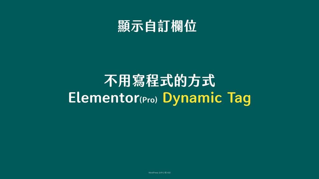 顯示自訂欄位 不用寫程式的方式 Elementor(Pro) Dynamic Tag Word...