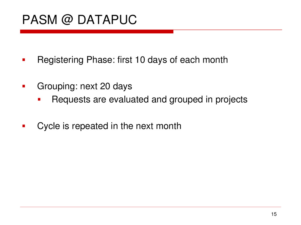 PASM @ DATAPUC  Registering Phase: first 10 da...