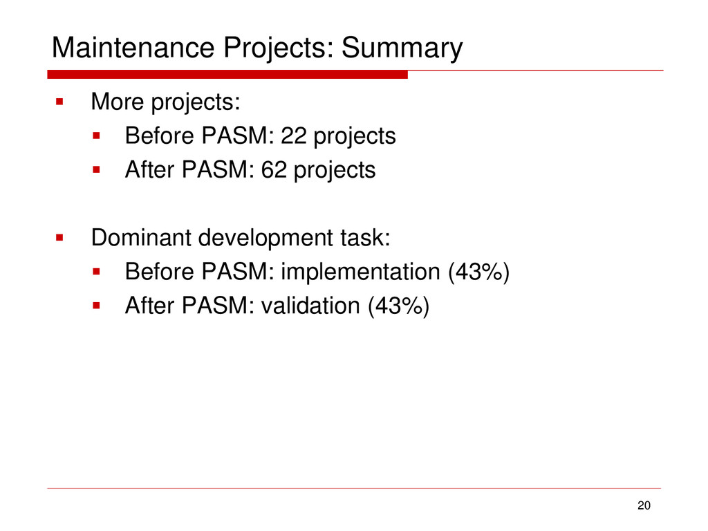Maintenance Projects: Summary  More projects: ...