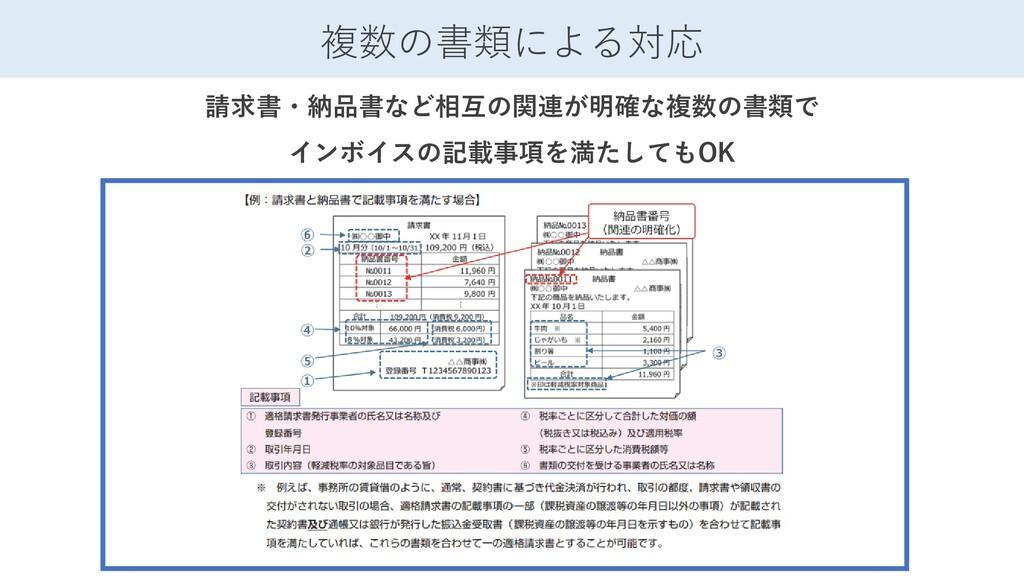 複数の書類による対応 請求書・納品書など相互の関連が明確な複数の書類で インボイスの記載事項を...