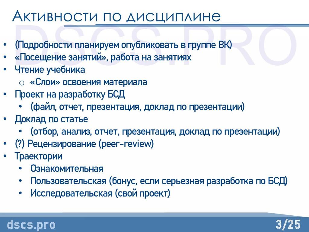 3/25 Активности по дисциплине dscs.pro • (Подро...