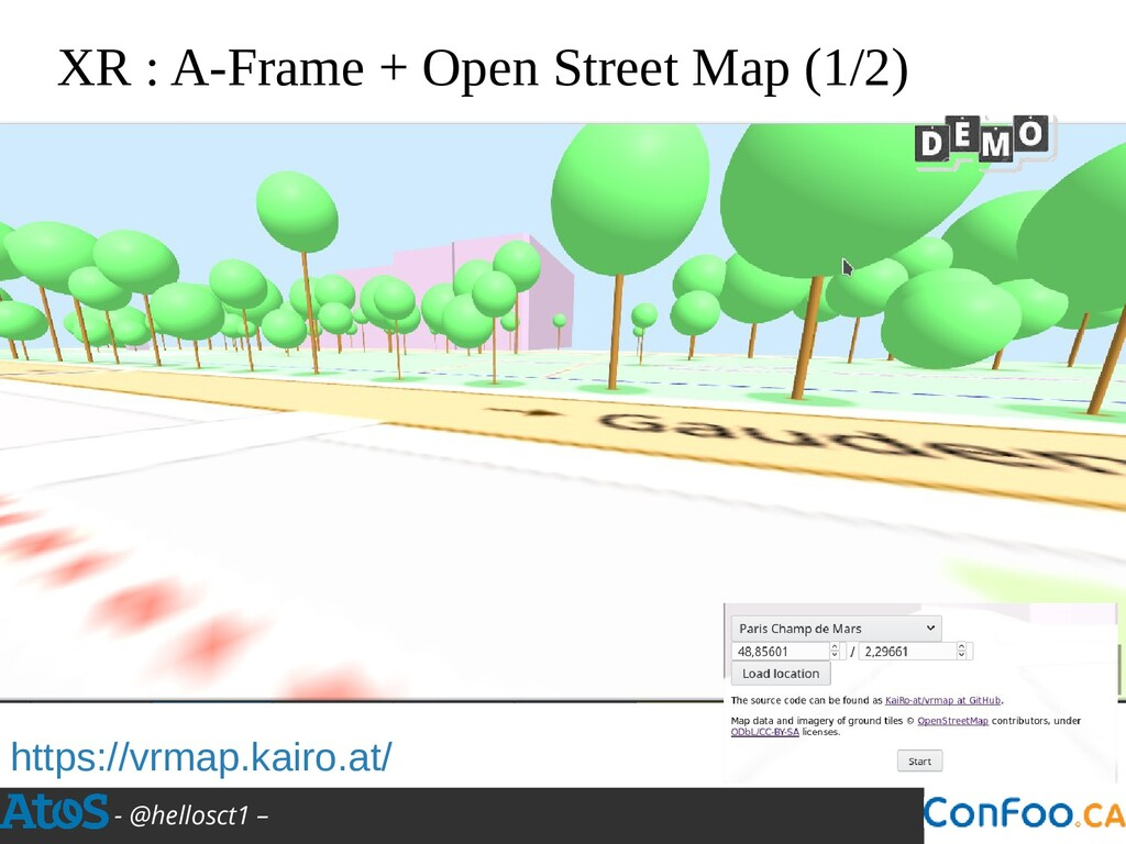- @hellosct1 – XR : A-Frame + Open Street Map (...