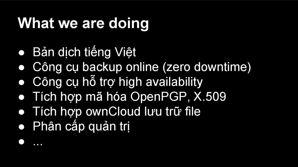 What we are doing ● Bản dịch tiếng Việt ● Công ...