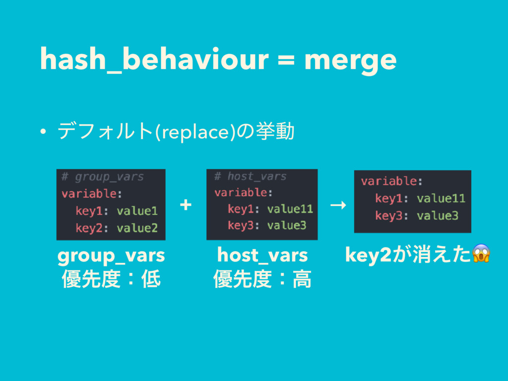 hash_behaviour = merge • σϑΥϧτ(replace)ͷڍಈ + gr...