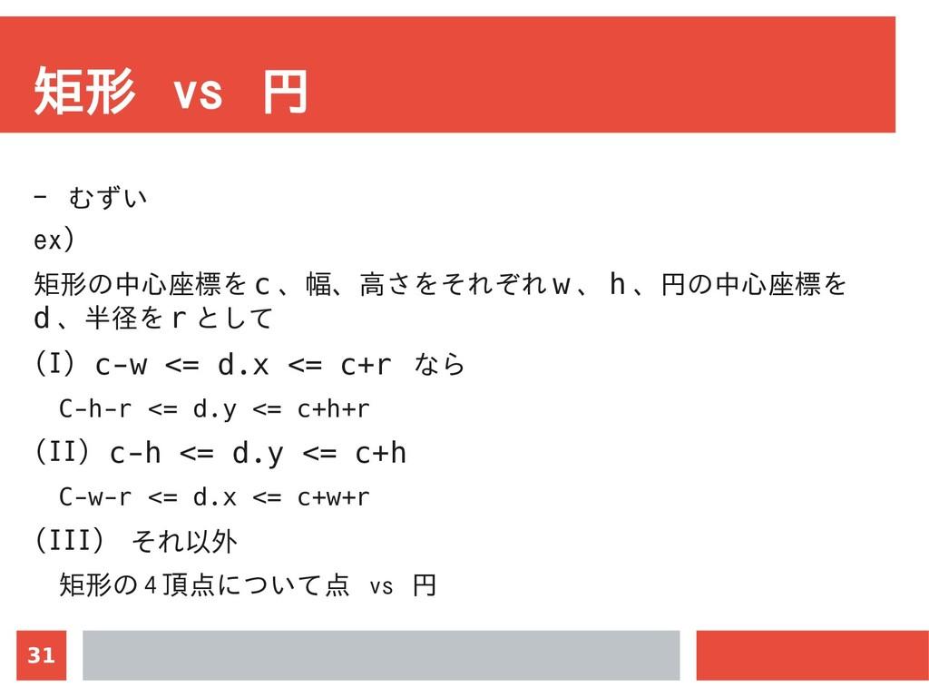 31 矩形 vs 円 - むずい ex) 矩形の中心座標を c 、幅、高さをそれぞれ w 、 ...