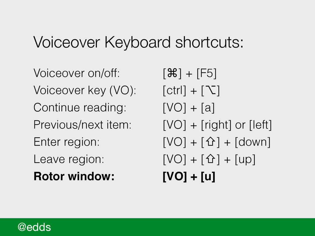 @edds Voiceover Keyboard shortcuts: ! Voiceover...
