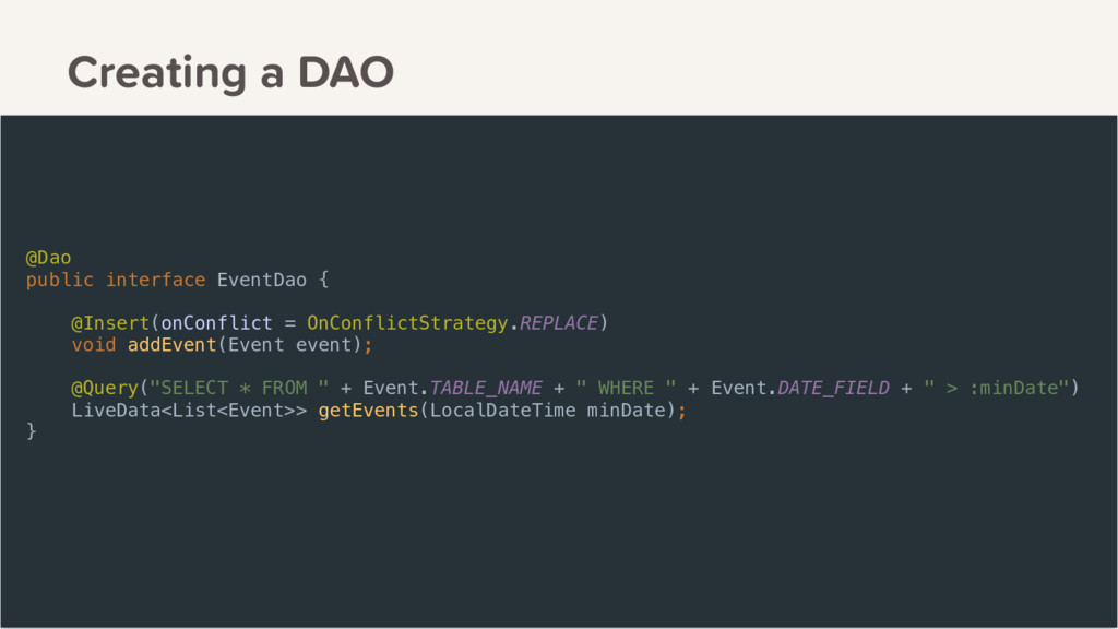 Creating a DAO @Dao public interface EventDao {...