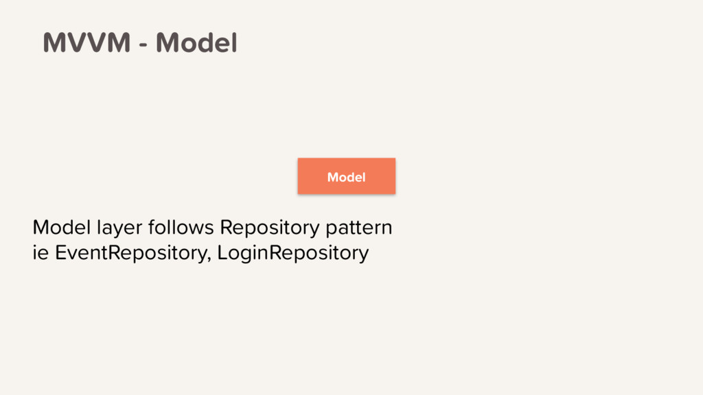Model Model layer follows Repository pattern ie...