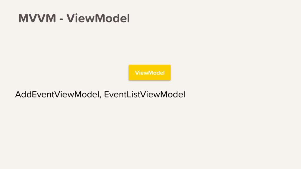 ViewModel AddEventViewModel, EventListViewModel...