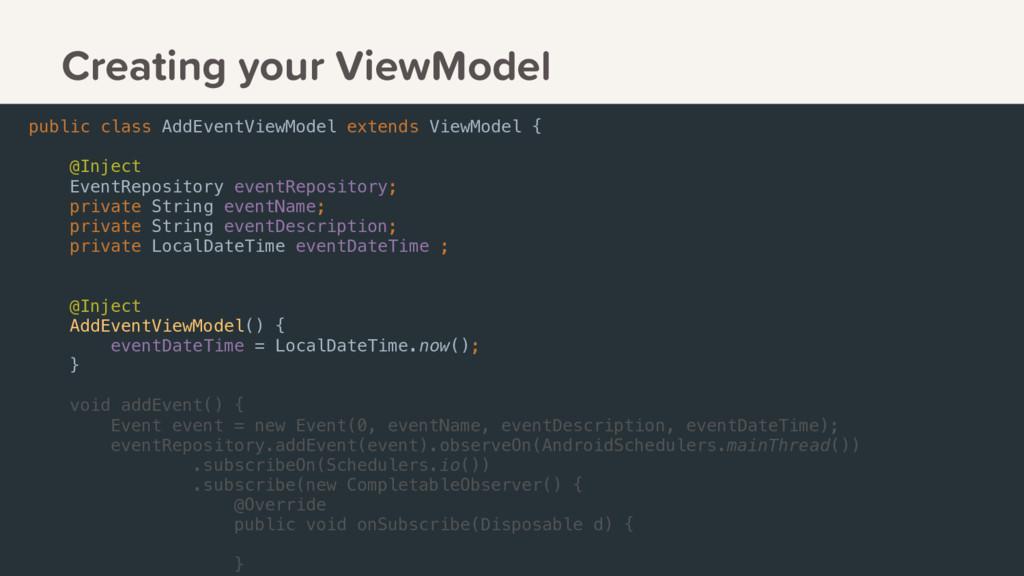 public class AddEventViewModel extends ViewMode...