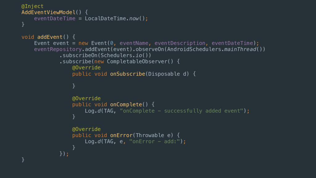 @Inject AddEventViewModel() { eventDateTime = L...