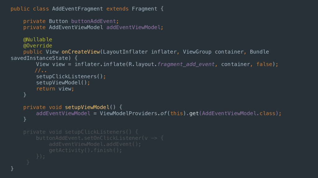 public class AddEventFragment extends Fragment ...