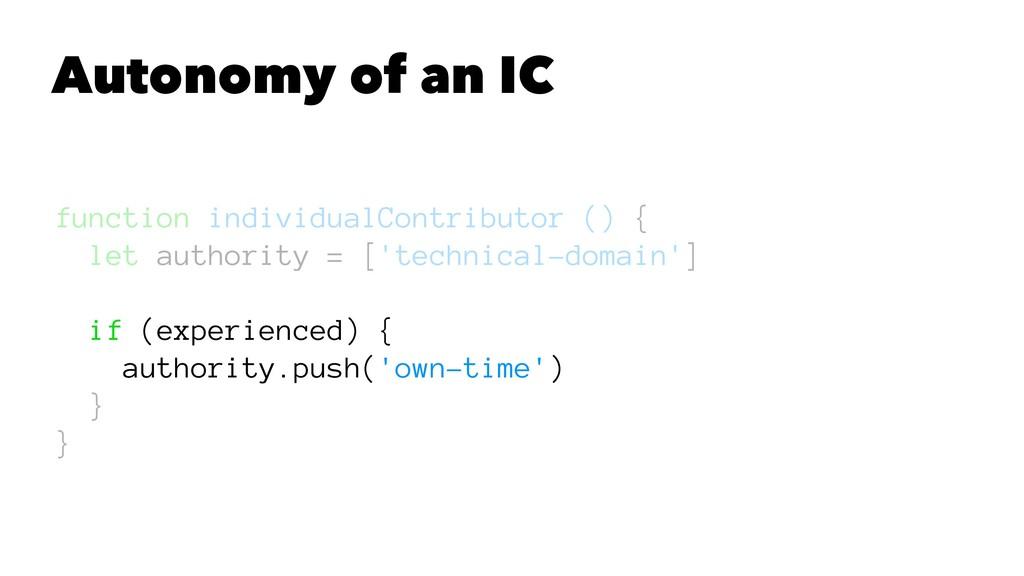 Autonomy of an IC function individualContributo...