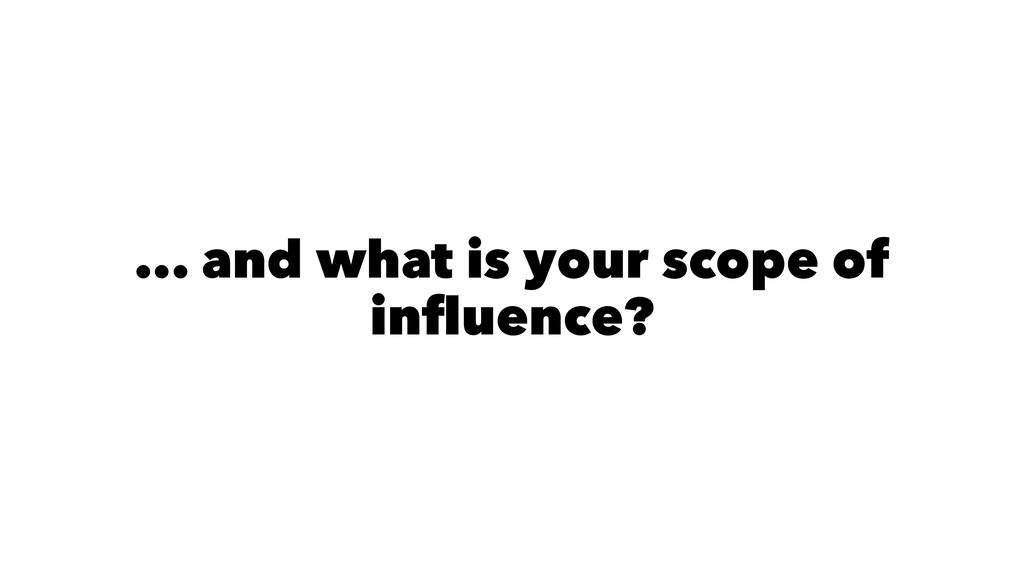 ... and what is your scope of influence?