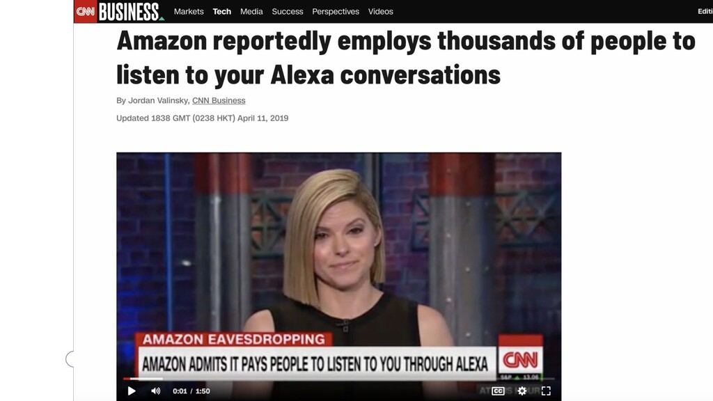 Screenshot of 2019 Amazon privacy scandal