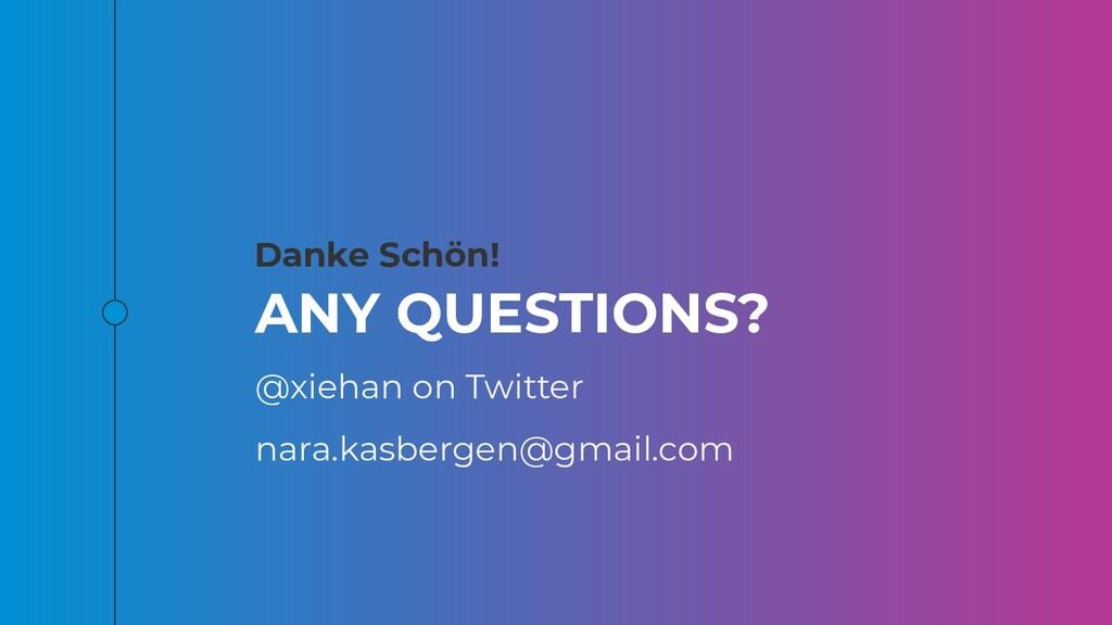 Danke Schön! ANY QUESTIONS? @xiehan on Twitter ...