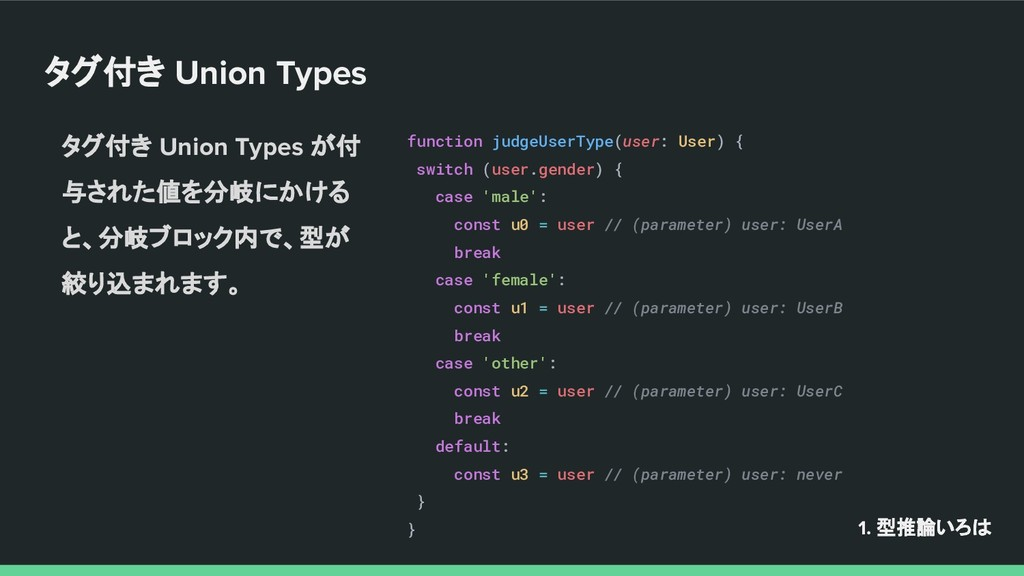 タグ付き Union Types function judgeUserType(user: U...