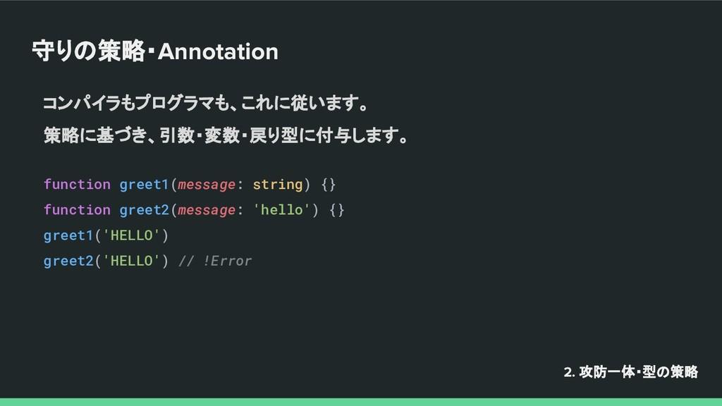 守りの策略・Annotation コンパイラもプログラマも、これに従います。 策略に基づき、引...