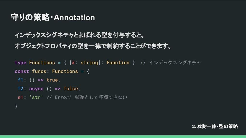 守りの策略・Annotation インデックスシグネチャとよばれる型を付与すると、 オブジェク...