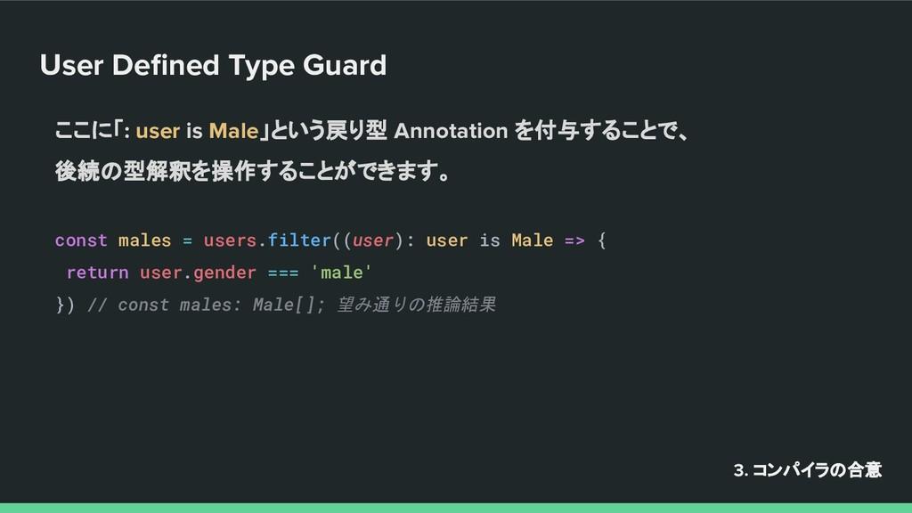 User Defined Type Guard 3. コンパイラの合意 ここに「: user i...