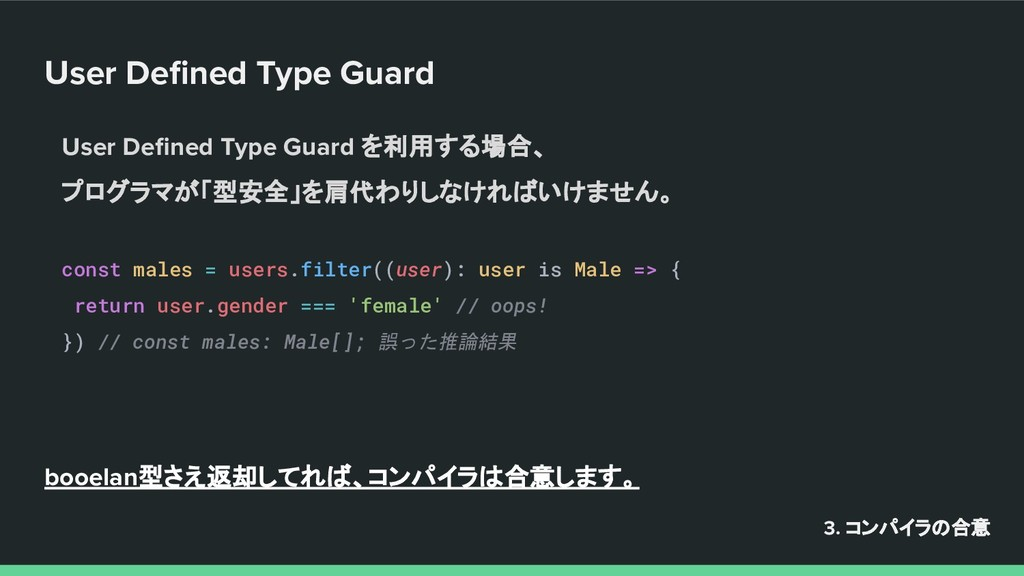 User Defined Type Guard 3. コンパイラの合意 User Defined ...