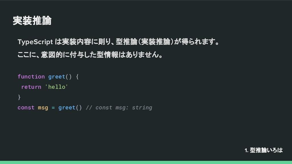 実装推論 TypeScript は実装内容に則り、型推論(実装推論)が得られます。 ここに、意...