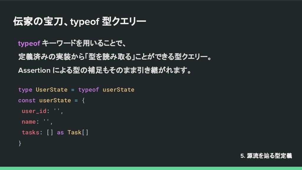伝家の宝刀、typeof 型クエリー 5. 源流を辿る型定義 typeof キーワードを用いる...
