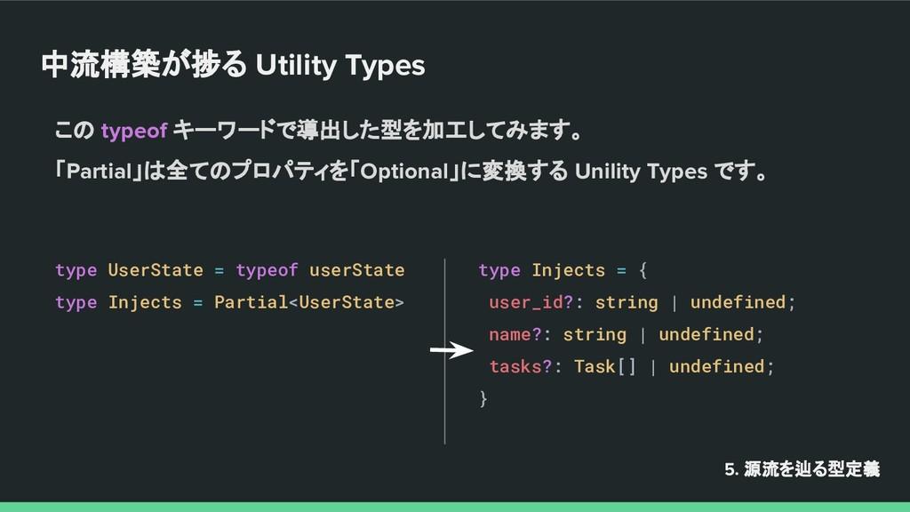 中流構築が捗る Utility Types 5. 源流を辿る型定義 この typeof キーワ...