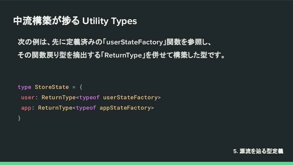 中流構築が捗る Utility Types 5. 源流を辿る型定義 次の例は、先に定義済みの「...