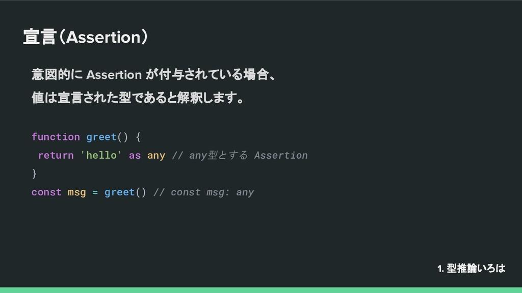 宣言(Assertion) 意図的に Assertion が付与されている場合、 値は宣言され...
