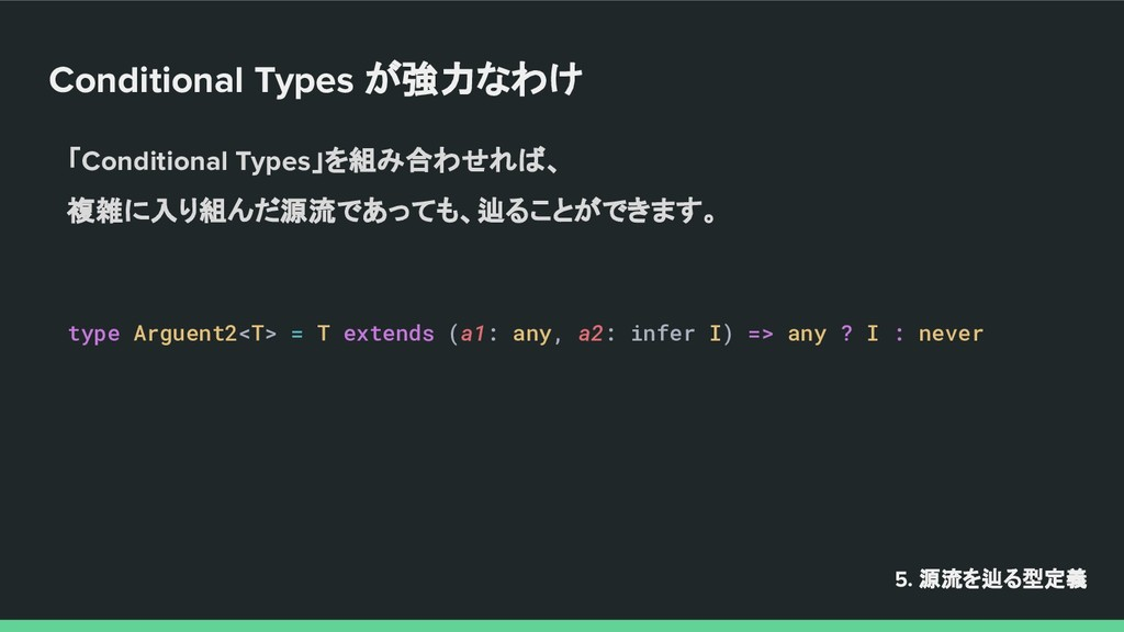 Conditional Types が強力なわけ 5. 源流を辿る型定義 「Condition...